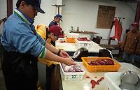 salmon; eggs; roe; trident; seafood; process; fish; process; business; cannery; workers; kodiak; alaska; fishery