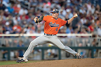 Auburn Tigers PPP pitcher Elliott Anderson (14) delivers a pitch to the plate during Game 4 of the NCAA College World Series against the Mississippi State Bulldogs on June 16, 2019 at TD Ameritrade Park in Omaha, Nebraska. Mississippi State defeated Auburn 5-4. (Andrew Woolley/Four Seam Images)