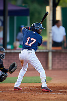 Elizabethton Twins shortstop Yeltsin Encarnacion (17) at bat during a game against the Bristol Pirates on July 28, 2018 at Joe O'Brien Field in Elizabethton, Tennessee.  Elizabethton defeated Bristol 5-0.  (Mike Janes/Four Seam Images)