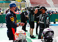 29th August 2020, Spa Francorhamps, Belgium, F1 Grand Prix of Belgium , qualification;   33 Max Verstappen NLD, Aston Martin Red Bull Racing, 44 Lewis Hamilton GBR, Mercedes-AMG Petronas Formula One Team
