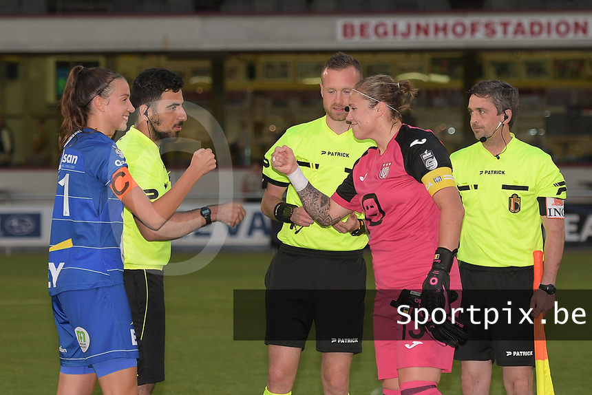 referee Anthony Letellier with assistant referee Dimitri Darc and Ercan Eray pictured before the game with goalkeeper Justien Odeurs (13) of Anderlecht and Silke Vanwynsberghe (21) of AA Gent Ladies in  a female soccer game between RSC Anderlecht Dames and AA Gent Ladies  on the fourth matchday of the 2021 - 2022 season of Belgian Womens Super League , friday 10 th of September 2021 in Overijse , Belgium . PHOTO SPORTPIX | DIRK VUYLSTEKE