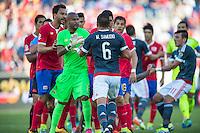 Orlando, Florida - Saturday, June 04, 2016: Paraguayan defender Miguel Samudio (6) and Costa Rican goalkeeper Patrick Pemberton (18) exchange words during a Group A Copa America Centenario match between Costa Rica and Paraguay at Camping World Stadium.