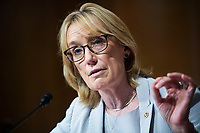 """United States Senator Maggie Hassan (Democrat of New Hampshire), directs a question to Mark A. Morgan, acting commissioner of the U.S. Customs and Border Protection, during the US Senate Homeland Security and Governmental Affairs Committee hearing titled """"CBP Oversight: Examining the Evolving Challenges Facing the Agency,"""" in Dirksen Senate Office Building on Thursday, June 25, 2020.<br /> Credit: Tom Williams / Pool via CNP/AdMedia"""