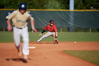Ball State Cardinals second baseman Noah Navarro (8) fields a ground ball during a game against the Mount St. Mary's Mountaineers on March 9, 2019 at North Charlotte Regional Park in Port Charlotte, Florida.  Ball State defeated Mount St. Mary's 12-9.  (Mike Janes/Four Seam Images)