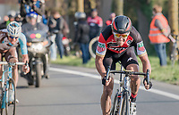 Greg Van Avermaet (BEL/BMC) tries to break free from his 2 rivals in the finale<br /> <br /> 60th E3 Harelbeke (1.UWT)<br /> 1day race: Harelbeke › Harelbeke - BEL (206km)