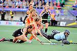 The Hague, Netherlands, June 05: Sally Rutherfod #8 of New Zealand (R) dives during the field hockey group match (Women - Group A) between New Zealand and The Netherlands on June 5, 2014 during the World Cup 2014 at Kyocera Stadium in The Hague, Netherlands. Final score 0-2 (0-2) (Photo by Dirk Markgraf / www.265-images.com) *** Local caption ***