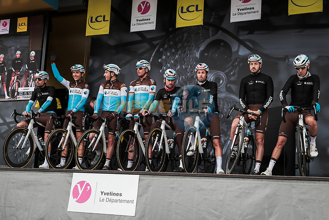 AG2R La Mondiale on stage at the Team Presentation before the 78th edition of Paris-Nice 2020, Plaisir, France. 8th March 2020.<br /> Picture: ASO/Fabien Boukla | Cyclefile<br /> All photos usage must carry mandatory copyright credit (© Cyclefile | ASO/Fabien Boukla)