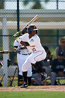 GCL Pirates second baseman Raul Siri (10) at bat during the first game of a doubleheader against the GCL Yankees 2 on July 31, 2015 at the Pirate City in Bradenton, Florida.  GCL Pirates defeated the GCL Yankees 2 2-1.  (Mike Janes/Four Seam Images)