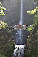 Eliza and Olivia on Footbridge Over Multnomah Falls, Columbia River Gorge National Scenic Area, Oregon, US, Eliza, Olivia