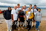Ann O'Donnell, On dry land after completing her swim from Derrymore to Fenit on Saturday morning as a fundraiser for the Irish Kidney Association Kerry branch. Jackie Marinho, Brendan Herbert, Eoin and Ann O'Donnell, Killian O'Donnell, Bridget Herbert, John Herbert, Sean O'Donnell and Debra Marinho