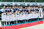 Players and coaches of Japan listen to the national anthems with their medal and trophy during the BFA Women's Baseball Asian Cup Presentation Ceremony at Sai Tso Wan Recreation Ground on September 7, 2017 in Hong Kong, China. Photo by Yu Chun Christopher Wong / Power Sport Images