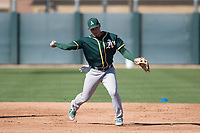 Oakland Athletics infielder Edwin Diaz (16) during Spring Training Camp on February 24, 2018 at Lew Wolff Training Complex in Mesa, Arizona. (Zachary Lucy/Four Seam Images)