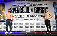 DALLAS, TX - DECEMBER 4: Josesito Lopez and Francisco Santana attend the weigh-in for the Errol Spence Jr. vs Danny Garcia December 5, 2020 Fox Sports PBC Pay-Per-View fight night at AT&T Stadium in Arlington, Texas. (Photo by Frank Micelotta/Fox Sports)