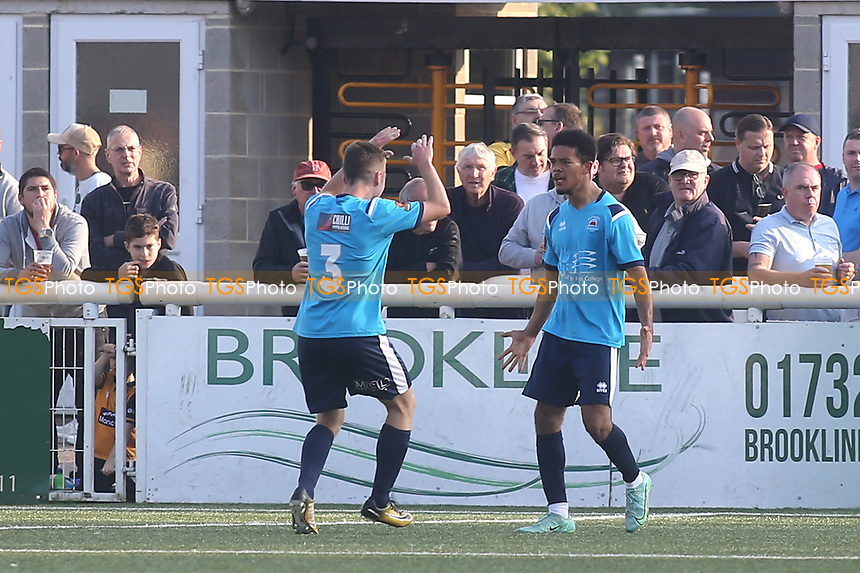 Dominic Hutchinson celebrates scoring Eastbourne Borough's second goal during Maidstone United vs Eastbourne Borough, Vanarama National League South Football at the Gallagher Stadium on 9th October 2021