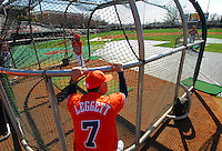Clemson head coach Jack Leggett watches batting practice before the opening game of the 2008 season between Mercer and Clemson University at Doug Kingsmore Stadium, Clemson, S.C. Photo by: Tom Priddy/Four Seam Images