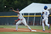 Johnson City Cardinals first baseman Todd Lott (29) stretches for a throw as Maikel Garcia (2) of the Burlington Royals hustles down the line at Burlington Athletic Stadium on September 4, 2019 in Burlington, North Carolina. The Cardinals defeated the Royals 8-6 to win the 2019 Appalachian League Championship. (Brian Westerholt/Four Seam Images)