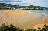 Laida Beach. In the background Mundaka. Urdaibai biosphere Reserve. Urdaibai. Region. Bizkaia. Basque Country. Spain.