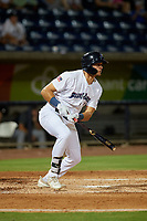 Pensacola Blue Wahoos Trevor Larnach (9) at bat during a Southern League game against the Mobile BayBears on July 25, 2019 at Blue Wahoos Stadium in Pensacola, Florida.  Pensacola defeated Mobile 3-2 in the second game of a doubleheader.  (Mike Janes/Four Seam Images)