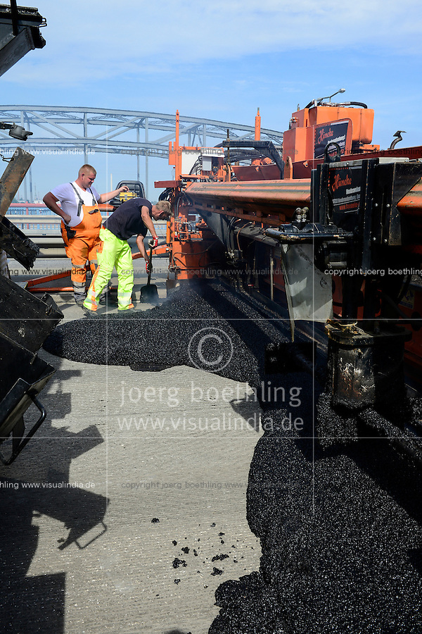 GERMANY, Hamburg, Europe bridge, highway A253 road construction and asphalting with macine