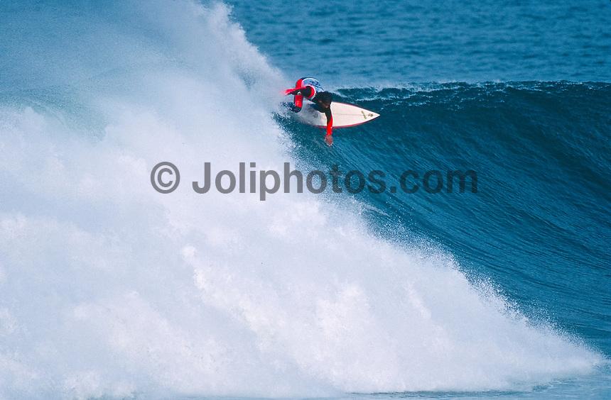 Maurice Cole (AUS) surfing Mundaka rivermouth during an epic swell in November 1989. Mundaka, Basque Country, Spain. Photo: joliphotos.com