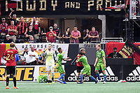 Atlanta, Georgia - Saturday, July 15, 2018. Atlanta United drew with Seattle Sounders FC, 1-1, in front of an MLS single-match record crowd of 72,243 at Mercedes-Benz Stadium.