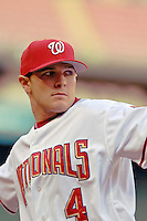 12 June 2006: Brendan Harris, infielder for the Washington Nationals, warms up prior to a game against the Colorado Rockies at RFK Stadium, in Washington, DC. The Nationals fell to the Rockies 4-3 in the first game of the four game series...Mandatory Photo Credit: Ed Wolfstein Photo..
