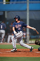 GCL Twins center fielder Tyler Webb (11) follows through on a swing during a game against the GCL Rays on August 9, 2018 at Charlotte Sports Park in Port Charlotte, Florida.  GCL Twins defeated GCL Rays 5-2.  (Mike Janes/Four Seam Images)