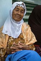 Borobudur, Java, Indonesia.  Old Javanese Woman.