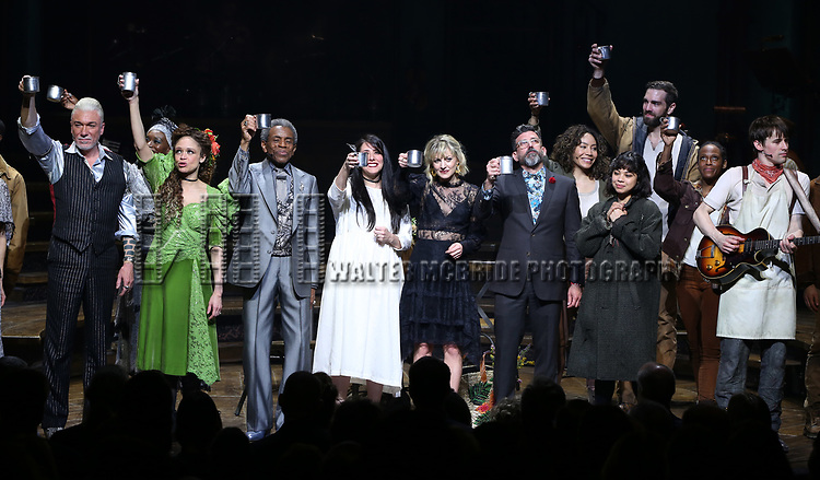 Patrick Page, Amber Gray, Andre De Shields, Rachel Clavkin, Anais Mitchell, David Neumann, Eva Noblezada, Reeve Carney and Timothy Hughes with cast during Broadway Opening Night Performance Curtain Call for 'Hadestown' at the Walter Kerr Theatre on April 17, 2019 in New York City.
