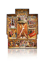 Gothic altarpiece dedicated to St Vincent by Bernat Martorell circa 1483-1440 in Barcelona, tempera and gold lef on wood from the Parish church of St Vincent of menarguens, Noguera, Spain. At the top of the central panels of the altar tryptic, replacing the traditional Calvery scene, can be seen in the centre the Virgin of Mercy and kneeling to the left is Sant Benet de Bages, in black, and to the right St. Bernard of Clairvaux, patron saint of thr Benedictine and Cistercian orders . Below this is a depiction of St Vincent and either side are scenes of the Mardom of Vincent. Along the bottom are scenes from the Passion of Christ, with Judas in a yellow tunic kissing Christ and a furious Peter cutting off the ear of Malcus. National Museum of Catalan Art (MNAC), Barcelona, Spain, inv 15797. Against a white background.