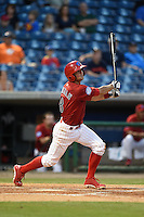 Clearwater Threshers shortstop Devin Lohman (8) at bat during a game against the Tampa Yankees on April 21, 2015 at Bright House Field in Clearwater, Florida.  Clearwater defeated Tampa 3-0.  (Mike Janes/Four Seam Images)