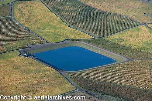 aerial photograph water reservoir for Petaluma vineyards Sonoma County, California