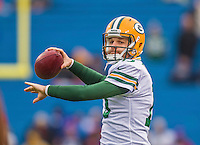 14 December 2014: Green Bay Packers backup quarterback Matt Flynn warms up prior to facing the Buffalo Bills at Ralph Wilson Stadium in Orchard Park, NY. The Bills defeated the Packers 21-13, snapping the Packers' 5-game winning streak and keeping the Bills' 2014 playoff hopes alive. Mandatory Credit: Ed Wolfstein Photo *** RAW (NEF) Image File Available ***
