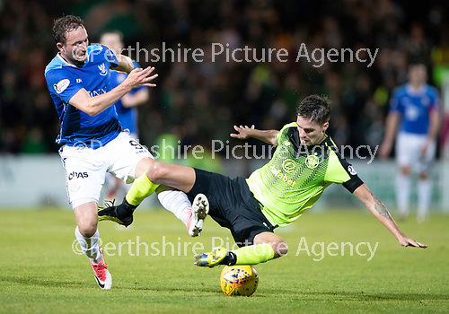 St Johnstone v Celtic…26.09.18…   McDiarmid Park     BetFred Cup Quarter Final<br />Chris Kane and Mikael Lustig<br />Picture by Graeme Hart. <br />Copyright Perthshire Picture Agency<br />Tel: 01738 623350  Mobile: 07990 594431