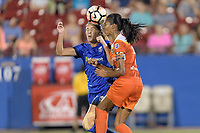 Frisco, TX - Sunday September 03, 2017: Katlyn Johnson and Bruna Benites during a regular season National Women's Soccer League (NWSL) match between the Houston Dash and the Seattle Reign FC at Toyota Stadium in Frisco Texas. The match was moved to Toyota Stadium in Frisco Texas due to Hurricane Harvey hitting Houston Texas.