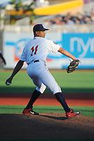 Brooklyn Cyclones pitcher Juan Urbina (11) during game against the Aberdeen IronBirds at MCU Park on July 5, 2014 in Brooklyn, NY.  Aberdeen defeated Brooklyn 18-2.  (Tomasso DeRosa/Four Seam Images)