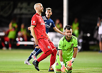 LAKE BUENA VISTA, FL - JULY 26: Michael Bradley of Toronto FC and Quentin Westberg of Toronto FC react to a goal by the New York City FC during a game between New York City FC and Toronto FC at ESPN Wide World of Sports on July 26, 2020 in Lake Buena Vista, Florida.