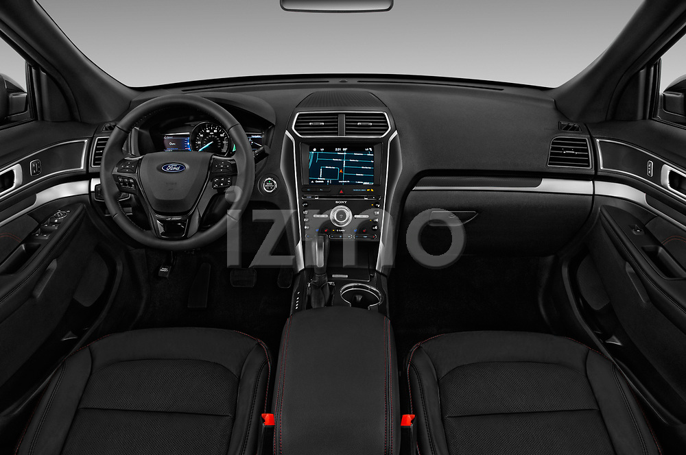 Stock photo of straight dashboard view of a 2019 Ford Explorer Sport 5 Door SUV