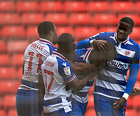 2nd April 2021, Oakwell Stadium, Barnsley, Yorkshire, England; English Football League Championship Football, Barnsley FC versus Reading; team mates celebrates Ovie Ejaria of Reading goal to make it 1-0 after 34 minutes