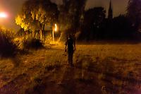 """Das ehemalige St. Josefsheim Waldniel-Hostert, Fuehrung durch das Heim mit der Kentschool Security Group, [das Josefsheim ist ein ehemaliges Franziskaner-Heim fuer Kinder mit Behinderung, nach 1937 war es die Kinderfachabteilung der Provinzial Heil- und Pflegeanstalt, in dieser Zeit wurden ca. 100 Kindern mit Behinderung durch die Nationalsozialisten ermordet, von 1963 bis 1991 britische Kent-School], heute leerstehende Ruine, [Treffpunkt fuer """"Geisterjaeger""""], Nacht, Nachtaufnahme, unheimlich, gruselig, lost place, lost places, moderne Ruine, Grundstueck, Verfall, verfallen, Gedenkstaette, Euthanasie, Kindereuthanasie, Naziverbrechen, Verbrechen, Behinderung, Nationalsozialismus, Nazi-Zeit, Drittes Reich, Geschichte, Historie, Josefs-Heim, Europa, Deutschland, Nordrhein-Westfalen, Viersen, Schwalmtal, 08/2013<br /> <br /> Engl.: Europe, Germany, North Rhine-Westphalia, Viersen, Schwalmtal, former St. Josefsheim Waldniel-Hostert, guided tour through the home with the Kentschool Security Group, building, exterior view, ruin, night, estate, memorial site, euthanasia, mercy killing, crime, disability, National Socialism, Third Reich, history, the Josefsheim is a former home managed by Franciscan monks for disabled children, after 1937 the National Socialists killed approx. 100 disabled children there, from 1963 - 1991 British Kent-School, August 2013"""