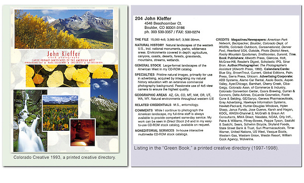 Early print ads to market John's photography in Colorado Creative and Green Book creative directories. Before digital.