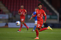 Jordan Thomas of Leyton Orient in action during the EFL Trophy behind closed doors match between Leyton Orient and Brighton & Hove Albion Under 21s at the Matchroom Stadium, London, England played without supporters able to attend due to ongoing covid-19 government guidelines on 8 September 2020. Photo by Vince  Mignott.