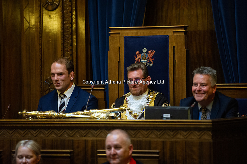 Pictured: Alun Wyn Jones (left) is awarded the freedom of Swansea from Lord Mayer Peter Black (centre) at Swansea's Guildhall, Swansea, Wales, UK. Wednesday 12 June 2019<br /> Re: Ospreys, Wales and Lions star Alun Wyn Jones has been awarded the freedom of Swansea for his achievements in rugby during a ceremony at the Guildhall in Swansea, Wales, UK.<br /> He has 134 international caps to his name; three Grand Slam titles with Wales, and has toured with the British and Irish Lions on three separate occasions.