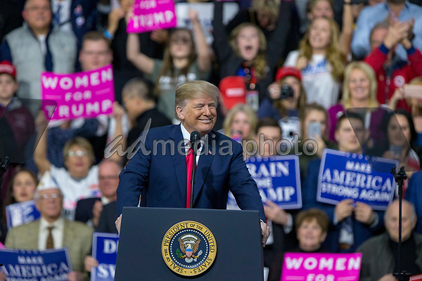 United States President Donald J. Trump arrives during a Make America Great Again campaign rally at Atlantic Aviation in Moon Township, Pennsylvania on March 10th, 2018. Photo Credit: Alex Edelman/CNP/AdMedia
