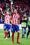 Atletico de Madrid Saul Niguez and Diego Godin celebrating the victory during Europa League Semi Finals First Leg match between Atletico de Madrid and Arsenal FC at Wanda Metropolitano in Madrid, Spain. May 03, 2018.  (ALTERPHOTOS/Borja B.Hojas)