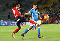 BOGOTA -COLOMBIA, 5-02-2017. Cristian Arango (R) player of Millonarios  fights for the ball with Didier Moreno(L) player of Independiente Medellin  during match for the date 1 of the Aguila League I 2017 played at Nemesio Camacho El Campin stadium . Photo:VizzorImage / Felipe Caicedo  / Staff