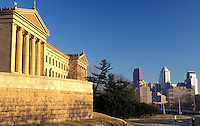 art museum, Philadelphia, Pennsylvania, PA, Philadelphia Museum of Art and downtown skyline of Philadelphia.