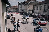 TdF peloton passing through town with Simon Clarke (AUS/Cannondale-Drapac) escorting team leader Rigoberto Uran (COL/Cannondale-Drapac) back to the bunch<br /> <br /> 104th Tour de France 2017<br /> Stage 4 - Mondorf-les-Bains › Vittel (203km)