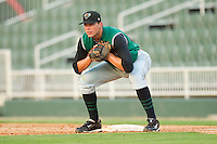 First baseman Luke Anders #35 of the Augusta GreenJackets on defense against the Kannapolis Intimidators at Fieldcrest Cannon Stadium June 24, 2010, in Kannapolis, North Carolina.  Photo by Brian Westerholt / Four Seam Images