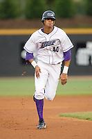 Salvador Sanchez #40 of the Winston-Salem Dash hustles into third base at Wake Forest Baseball Stadium May 8, 2009 in Winston-Salem, North Carolina. (Photo by Brian Westerholt / Four Seam Images)